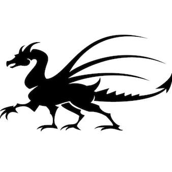Ilustraciones vectoriales dibujo dragón blac