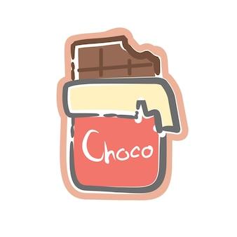 Ilustraciones vectoriales de dibujos animados de barra de chocolate comido dulce lindo