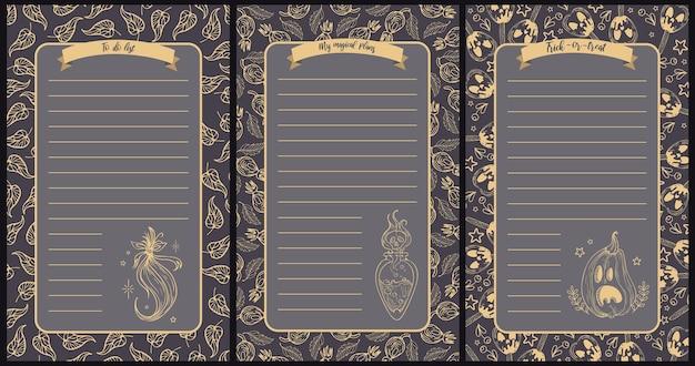 Ilustraciones vectoriales para halloween brujería poción mágica calabazas para papel de notas para hacer la lista