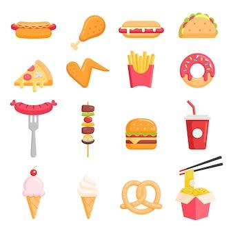 Ilustraciones vectoriales de iconos de colores de comida rápida