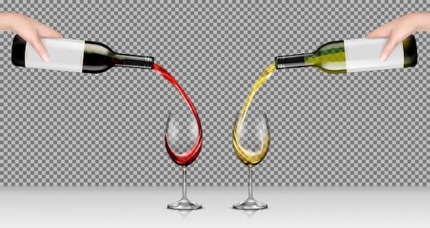 Ilustraciones vectoriales de manos sosteniendo botellas de vidrio con vino blanco y rojo y verterlo en vasos transparentes