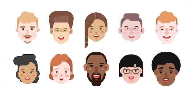 Ilustraciones vectoriales de mujeres y hombres de diferentes razas y nacionalidades