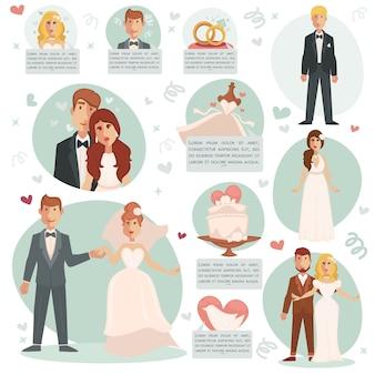 Ilustraciones vectoriales de novia y novio.