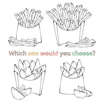 Ilustraciones vectoriales sobre el tema de la comida rápida: papas fritas.
