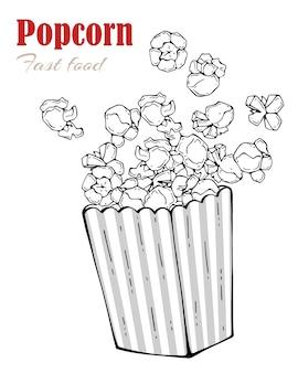 Ilustraciones vectoriales sobre el tema de los snacks: caja de palomitas de maíz.