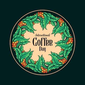 Ilustraciones vintage de botánica del día internacional del café