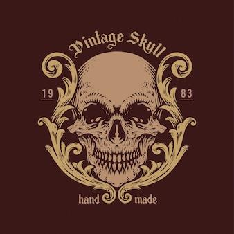 Ilustraciones de vintage skull handdrawn logo