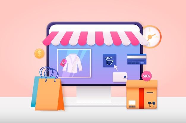 Ilustraciones web 3d. compras online, marketing móvil y marketing digital.