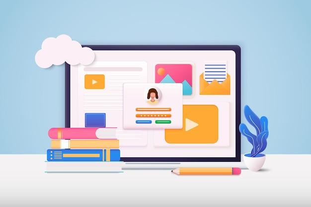 Ilustraciones web 3d página de formulario de inicio de sesión y contraseña de la cuenta y la computadora en la pantalla