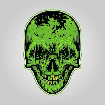 Ilustraciones de zombie skull scary