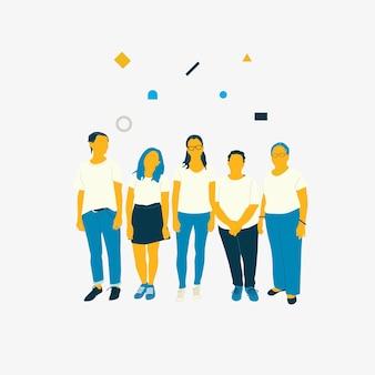 Ilustradas diversas mujeres de pie juntas.
