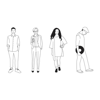 Ilustradas diversas personas casuales.
