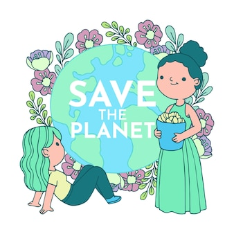 Ilustrado con el diseño de salvar el planeta