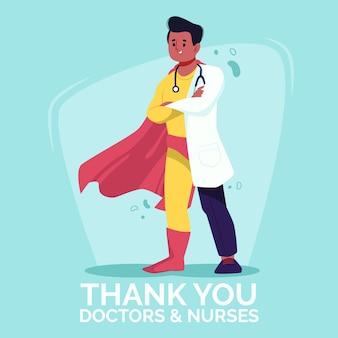 Ilustrado gracias médicos y enfermeras
