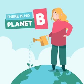 Ilustrado con el mensaje de salvar el planeta