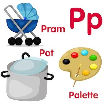 Ilustrador del alfabeto p