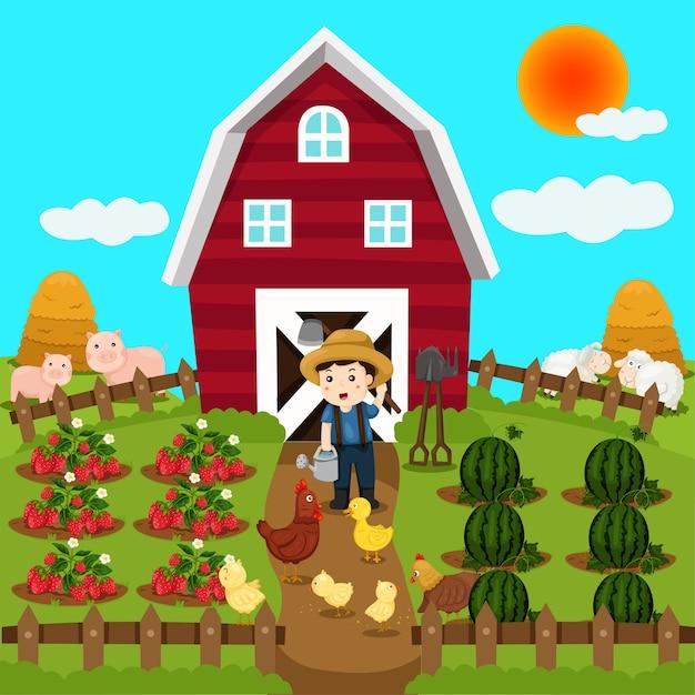 Ilustrador de animales de granja y frutas.