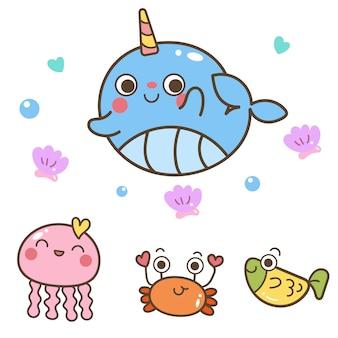 Ilustrador de la colección de animales de la vida marina.