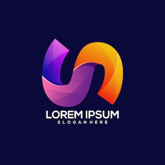 Ilustrador colorido degradado del logotipo de la letra n