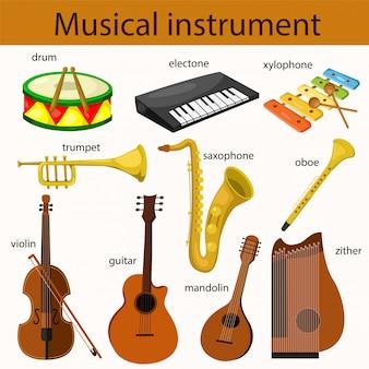 Ilustrador del conjunto de instrumentos musicales.