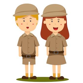 Ilustrador del cuidador del zoológico niño y niña