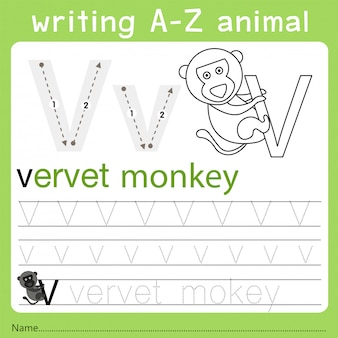 Ilustrador de escritura az animal v.