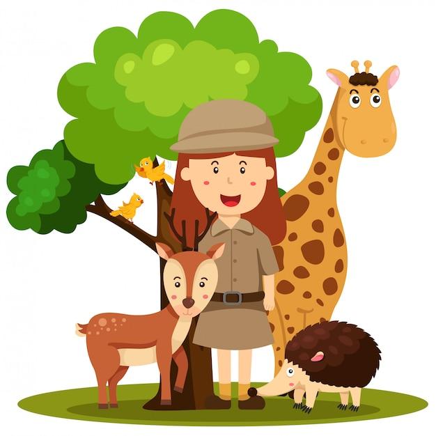 Ilustrador de mujeres cuidadoras del zoológico