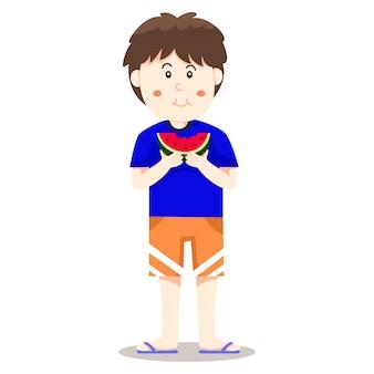 Ilustrador de niño come watermalon.