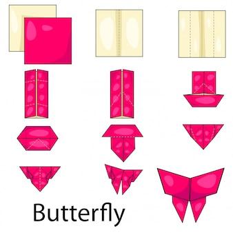 Ilustrador de origami mariposa.