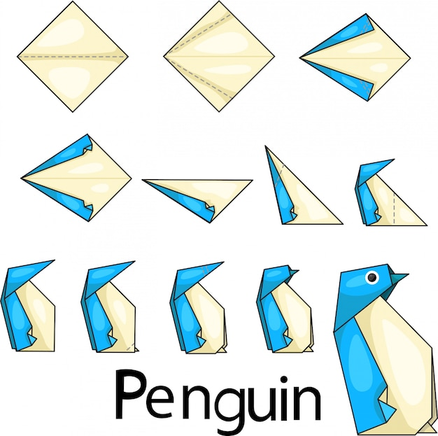 Ilustrador de origami penquin dos.