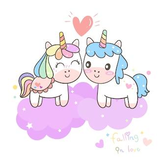 Ilustrador de la pareja de dibujos animados unicornio.
