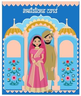 Ilustrador de pareja india en la ceremonia de boda de la india