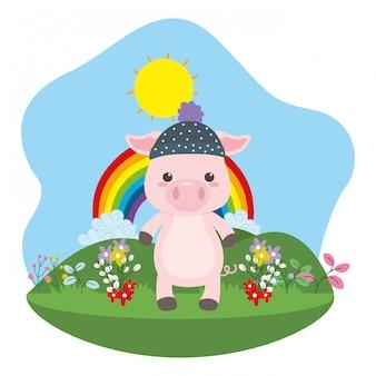 Ilustrador de vector de dibujos animados de cerdo