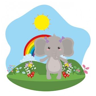 Ilustrador de vector de dibujos animados de elefante