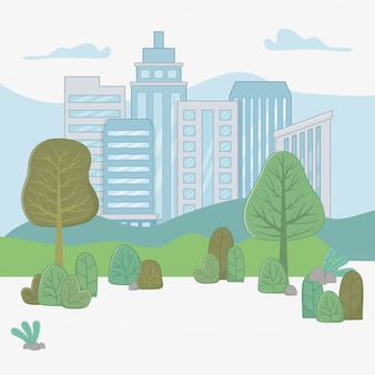 Ilustrador de vector de diseño de ciudad y plantas
