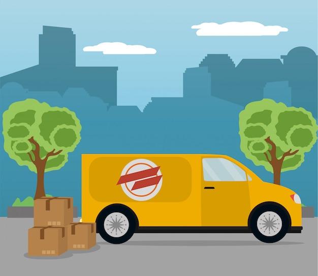 Ilustrador de vector de servicio de entrega de correo