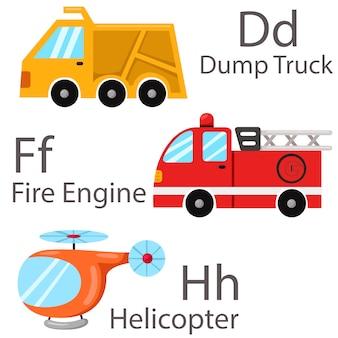 Ilustrador para vehículos set 2 con camión volquete, camión de bomberos, helicóptero.