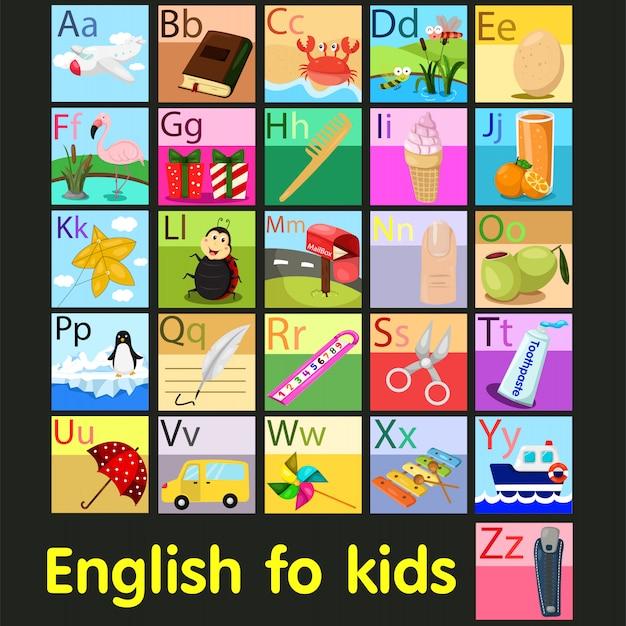 Ilustrador del vocabulario a - z del alfabeto.