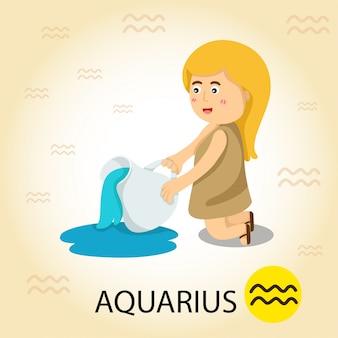 Ilustrador del zodiaco con acuario.