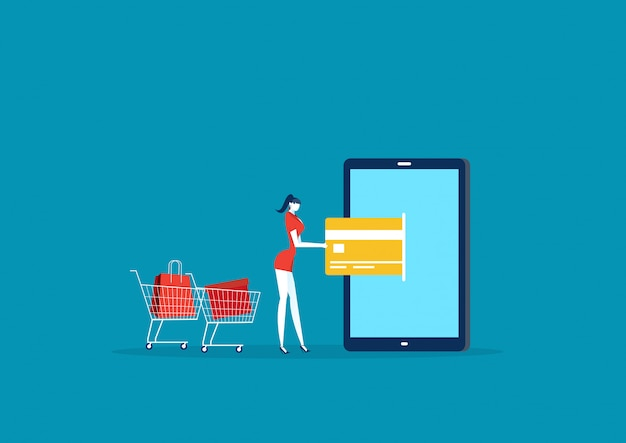 Ilustradora dama de compras con tarjeta de pago creadit a través del móvil