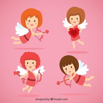 Ilustrados ángeles de cupido