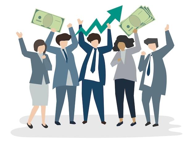 Ilustrados empresarios corporativos