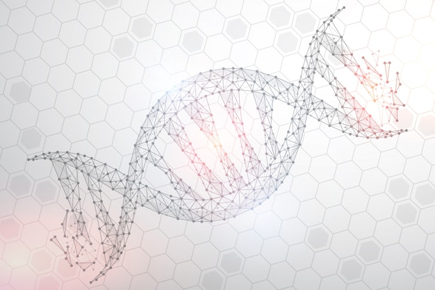 Imagen abstracta de adn poligonal, aislado sobre fondo blanco.