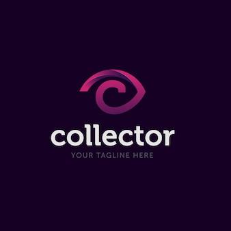 Imagen abstracta del ojo con fuente c para el logotipo del coleccionista