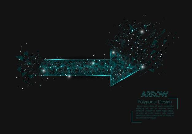 Imagen aislada abstracta de la flecha. la ilustración poligonal parece estrellas en el cielo nocturno blask en spase o fragmentos de vidrio voladores. diseño digital para sitio web, web, internet.