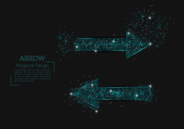 La imagen aislada abstracta de la ilustración poligonal de la flecha parece estrellas en el cielo nocturno blask en s ... Vector Premium