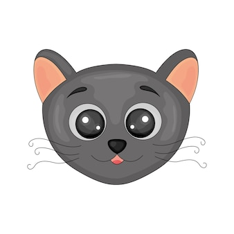 Imagen aislada de dibujos animados lindo gato negro sobre fondo blanco