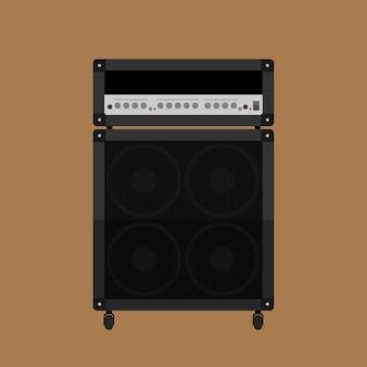 Imagen de amplificador de guitarra con altavoz de gabinete, ilustración de estilo