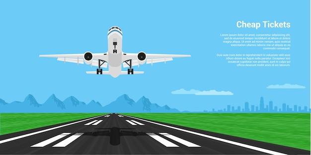 Imagen de un avión de aterrizaje o despegue con mointains y silueta de gran ciudad en el fondo, ilustración de estilo