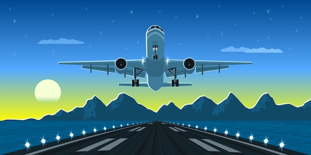 Imagen de un avión de aterrizaje o despegue con montañas y silueta de gran ciudad en el fondo, ilustración de estilo